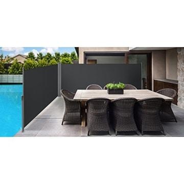 Songmics Doppel Seitenmarkise 160 x 600 cm verdickter Polyester 280 g/m² Seitenrollo Sichtschutz GSA320G - 3