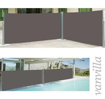 vanvilla Doppel Seitenmarkise Eck Markise Sichtschutz Windschutz Sonnenschutz Anthrazit 200x600 cm - 1