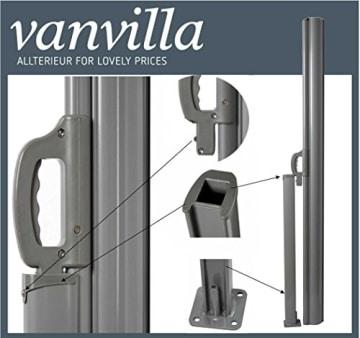 vanvilla Doppel Seitenmarkise Eck Markise Sichtschutz Windschutz Sonnenschutz Anthrazit 200x600 cm - 3