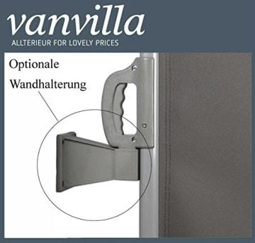 vanvilla Doppel Seitenmarkise Eck Markise Sichtschutz Windschutz Sonnenschutz Anthrazit 200x600 cm - 4
