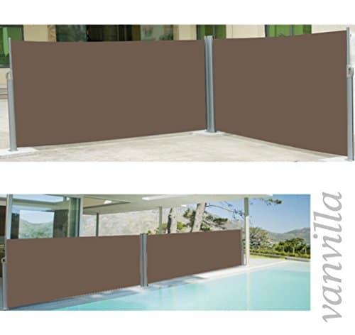 vanvilla Doppel Seitenmarkise Eck Markise Sichtschutz Windschutz Sonnenschutz Braun 200x600 cm - 1