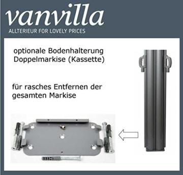 vanvilla Doppel Seitenmarkise Eck Markise Sichtschutz Windschutz Sonnenschutz Braun 200x600 cm - 6