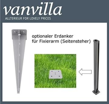 vanvilla Doppel Seitenmarkise Eck Markise Sichtschutz Windschutz Sonnenschutz Braun 200x600 cm - 7