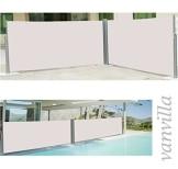 vanvilla Doppel Seitenmarkise Eck Markise Sichtschutz Windschutz Sonnenschutz Beige 180x600 cm - 1