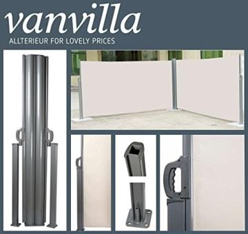vanvilla Doppel Seitenmarkise Eck Markise Sichtschutz Windschutz Sonnenschutz Beige 180x600 cm - 2