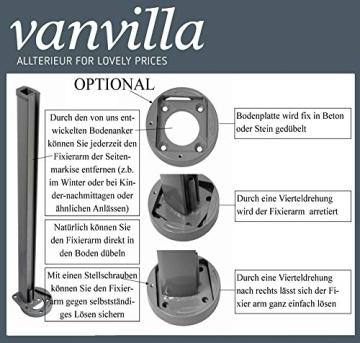 vanvilla Doppel Seitenmarkise Eck Markise Sichtschutz Windschutz Sonnenschutz Beige 180x600 cm - 5