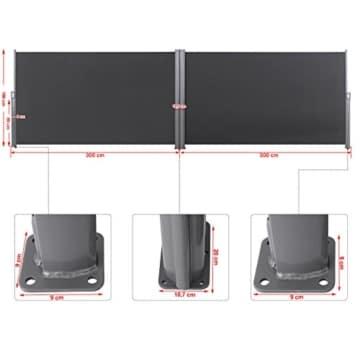 Songmics Doppel Seitenmarkise 180 x 600 cm TÜV SÜD zertifiziert verdickter Polyester 280 g/m² GSA360G - 4