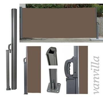 vanvilla seitenmarkise sichtschutz sonnenschutz windschutz markise seitenwand braun 200x300 cm. Black Bedroom Furniture Sets. Home Design Ideas