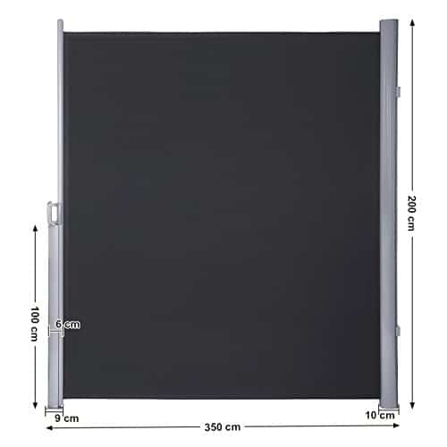 Abmessungen am Beispiel Songmics Seitenmarkise 200 x 350 cm rauchgrau